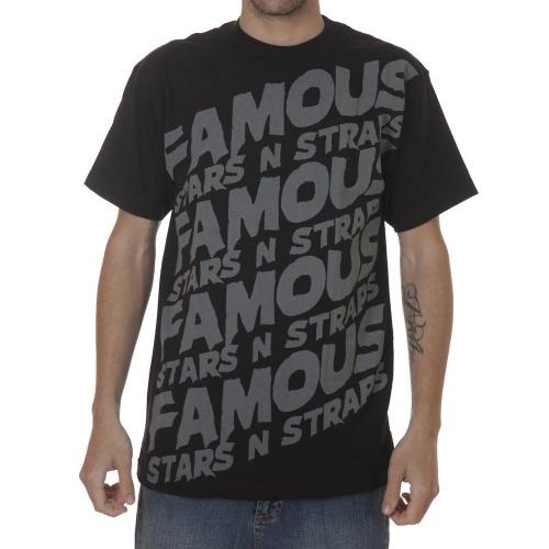 T-Shirt manga curta. Marca Famous Stars&Straps. Cor: preto/cinza.