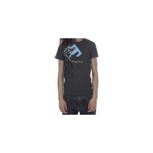 T-Shirt 100% algodão para mulher. Estampa de silk. Marca Traditiona. Cor: cinza.