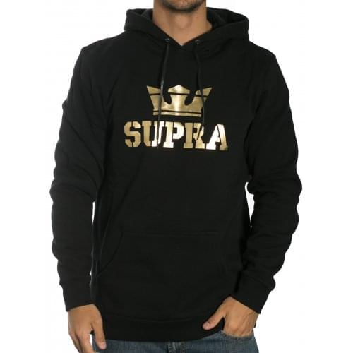 Sweatshirt Supra: Hood Above Pullover Black-Gold BK