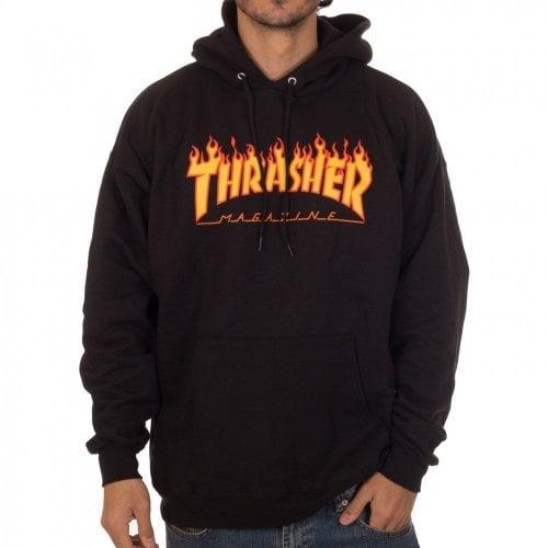 Sweatshirt Thrasher: Flame Logo Hood BK