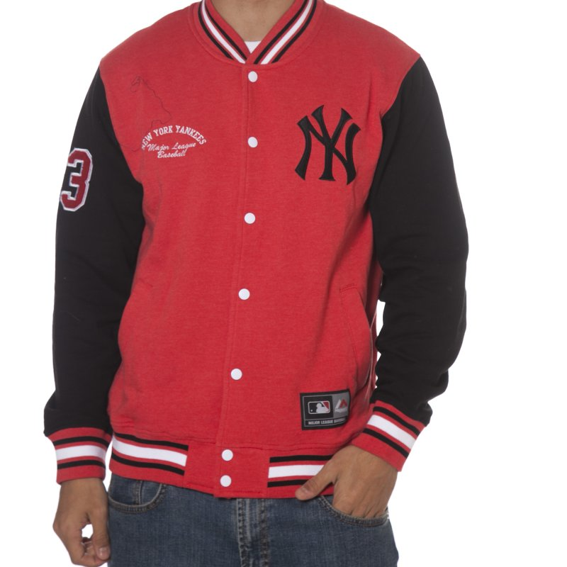 8f40ee2cc7f70 Casaco Majestic  Senell Fleece Letterman New York Yankees RD BK ...